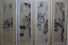 """Chinese 100% Hand Painting 4 Scrolls """"Flowers And Birds"""" By Zhang Daqian 张大千 AD8"""