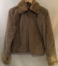 Firefly Brown Iron Corduroy Zip Jacket Coat Faux Fur Collar Cuffs Pockets Small