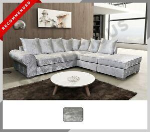 Crushed Velvet Royal Corner Sofa in Crushed Velvet with Large Ottoman - Silver