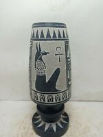 RARE ANTIQUE ANCIENT EGYPTIAN Vase God Anubis Key of Life Protection 1732 Bc
