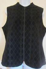 Chicos Black Travelers Quilted Front Zip Vest ~Sz 1....8/10