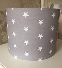 Grey Stars Lampshade Handmade In 25cm Drum, Nursery, Baby Bedroom
