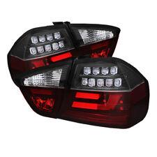 BMW 06-08 3-Series Sedan E90 LED Red Clear LED Rear Tail Light Set Strip Style