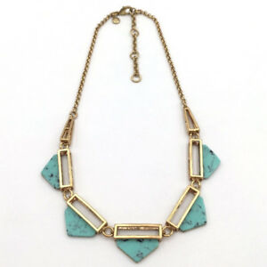 J.Crew Teal Triangle Stone Necklace