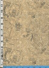 Fabric Timeless PARIS CITY MAP parchment black Eiffel tower OOP RARE BTHY