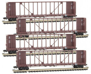 Micro-Trains MTL N-Scale Centerbeam Flat Cars Union Pacific/UP - Runner 4-Pack