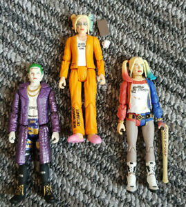 2x Harley Quinn and 1x Joker Re-Action Funko Figures Suicide Squad