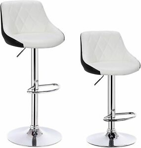 Leather Bar Stools Black and White Bar Chairs Breakfast Kitchen Stool Set table