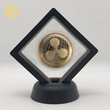 Gold Ripple Cryptocurrency Metal Coin with Stand for Collection and Gifts