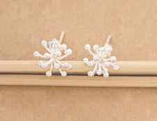 pair Flower Stud Earrings 10mm. Karen Hill Tribe Silver 1