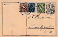 Postkarte 1923 verschickt von Unterbornheim nach Frankfurt 1923 wertvolle Bfm