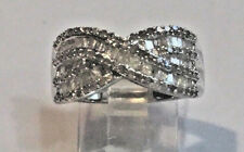 1.25 Ct. DIAMOND CRISS CROSS BAND RING, PLATINUM, SS .925 SZ 7