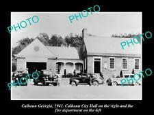 OLD LARGE HISTORIC PHOTO OF CALHOUN GEORGIA, THE POLICE & FIRE DEPARTMENT, 1941