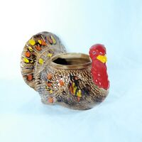Turkey Planter Vintage Ceramic Thanksgiving Fall Decor Splatter Glaze