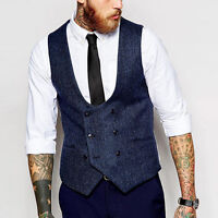 Men's Vest V-neck Double breasted Formal Business Dress Waistcoat Outdoor waist@