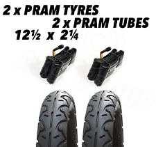"2x Pram Tyres & 2x Tubes 12 1/2 X 2 1/4"" LUX 4 KIDS Baby Style Zing XTS Red Kite"