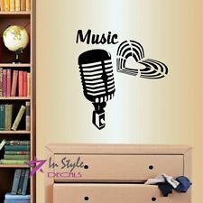 Vinyl Decal Microphone Music Heart Singer Karaoke Studio Room Wall Sticker 926
