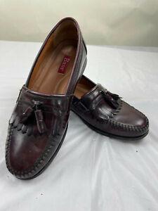 GH Bass Co Burgundy Leather Horsebit Tassel Loafers Men's Shoes Size 10 D