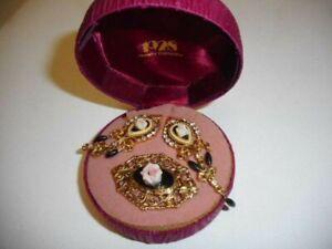 Porcelain Rose Dangle Earrings & Pin Matching Set - 1928 Jewelry Company
