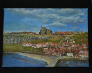Whitby, Yorkshire - Canvas Print of Landscape Painting 30x20cm signed