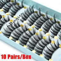 10Pairs 3D Faux Mink Hair False Eyelashes Thick Long Fluffy Wispy Cross Lashes