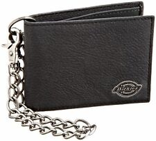 Dickies Men's Leather Slimfold Biker Wallet With Chain - Black
