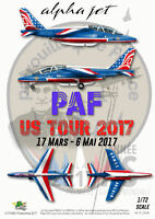 """[FFSMC Productions] Decals Patrouille de France Alphajet """"PAF US Tour"""" 2017 1/72"""