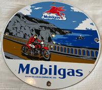 VINTAGE MOBILGAS PORCELAIN SIGN DEALERSHIP SIGN SERVICE GAS MOBIL OIL MOTORCYCLE