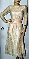 ~VTG 70s  Party Formal Sheer Lace Satin Sash Midi Peach Lace Dress Sz 5-7