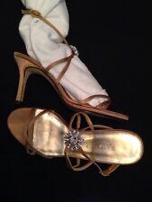 White House Black Market shoe High Heel Strappy Satin tan Rhinestone Sandal SZ 8