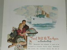 1946 Canadian Pacific ad, Post WWII Empress ship travel