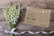 Personalised Save The Date Cards X 10 Wedding Calendar Bunting SD402