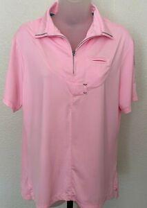 Jamie Sadock 71116 Womens Sugar Pink Short Sleeve Golf Top sz L