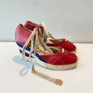 Brooks Brothers Womens Espadrilles Wedge Heels Shoes Red Leather Lace Up 8