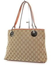 Authentic GUCCI Brown GG Canvas and Leather Tote Hand Bag Purse #26237