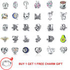 Fine European 925 sterling Silver CZ Charm Space Bead Pendant Fit Bracelet Chain