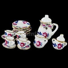 15 Dollhouse Miniature Flower Ceramic Porcelain Coffee Tea Set Dish Cup Saucer