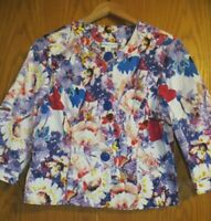 Coldwater Creek women's Petite size 14 Large? 3/4 sleeve colorful floral jacket
