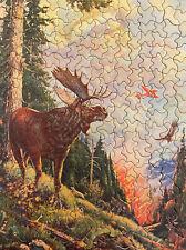 "Vintage TUCO Deluxe Picture Puzzle ""Careless Intruder"" Moose Wildfire Bolenbaugh"
