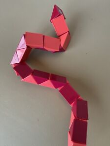 Vintage 80's Magic Snake Puzzle Cube Pink Plastic Twist Toy Japan