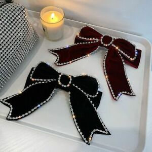 Hairpins Fabric Ribbon Velvet Bow Elegant Clips Barrettes Crystal Accessories