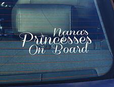 Static Cling Window Car Sign/Decal Nana's Princesses on Board 100 x 250mm