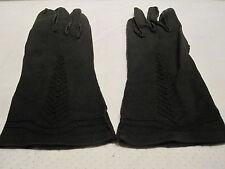 Vintage 50s 1960s Black Winter Gloves Vegan Rockabilly Pinup Retro Mod Gothic 7