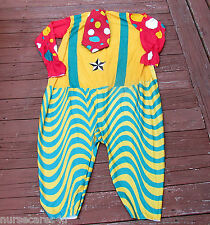CLOWN COSTUME COLORFUL CLOWN WITH WIG, SHOES, SOCKS, HORN BIRTHDAY  OR HALLOWEEN