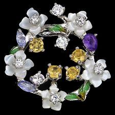 GENUINE MOTHER OF PEARL,AMETHYST,CITRINE,TANZANITE 925SILVER ENAMEL FLOWER CHARM
