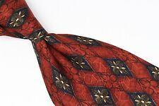 J.Z. Richards Silk Neck Tie Burnt Dark Orange Brown Diamond Floral Check Print