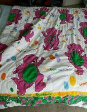 Vintage Barney & Baby Bop Dinosaur Full Size Blanket Comforter (LYONS, 1992)