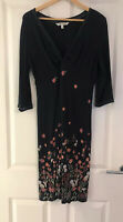 FAT FACE NAVY BLUE FLORAL KNOTTED MIDI DRESS SIZE 14