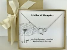 925 Silver Double Circle Pendant Mother Daughter Necklace Mothers Day Gift Card