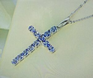 2.25 ctw Tanzanite Pendant Cross Necklace 20 In Platinum Over Sterling Silver